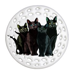 Cats Round Filigree Ornament (two Sides) by Valentinaart
