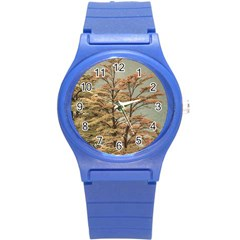 Landscape Scene Colored Trees At Glacier Lake  Patagonia Argentina Round Plastic Sport Watch (s) by dflcprints
