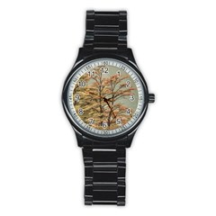 Landscape Scene Colored Trees At Glacier Lake  Patagonia Argentina Stainless Steel Round Watch by dflcprints