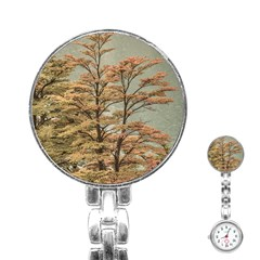 Landscape Scene Colored Trees At Glacier Lake  Patagonia Argentina Stainless Steel Nurses Watch by dflcprints