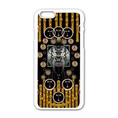 Foxy Panda Lady With Bat And Hat In The Forest Apple Iphone 6/6s White Enamel Case by pepitasart