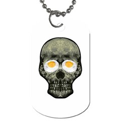 Skull With Fried Egg Eyes Dog Tag (two Sides) by dflcprints