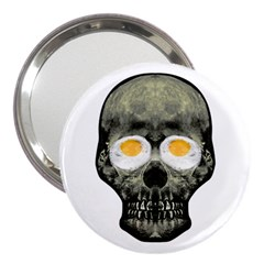 Skull With Fried Egg Eyes 3  Handbag Mirrors by dflcprints