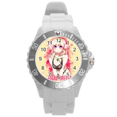 Blonde Hair Bikini Furry Girl Round Plastic Sport Watch (l) by Catifornia