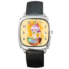 Easter Bunny Furry Square Metal Watch by Catifornia