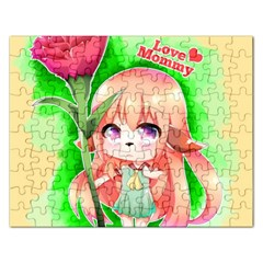 Happy Mother s Day Furry Girl Rectangular Jigsaw Puzzl by Catifornia