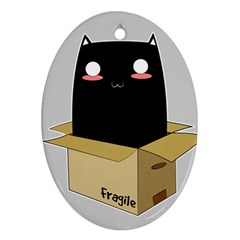 Black Cat In A Box Ornament (oval) by Catifornia