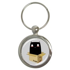 Black Cat In A Box Key Chains (round)  by Catifornia