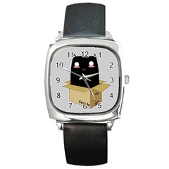 Black Cat In A Box Square Metal Watch by Catifornia