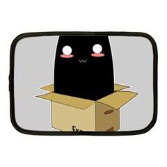 Black Cat In A Box Netbook Case (medium)  by Catifornia