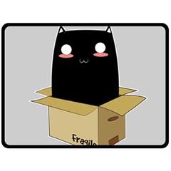 Black Cat In A Box Fleece Blanket (large)  by Catifornia