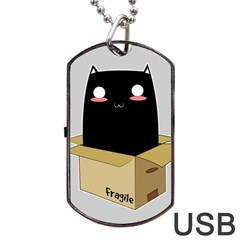 Black Cat In A Box Dog Tag Usb Flash (one Side) by Catifornia