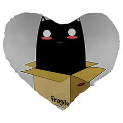 Black Cat In A Box Large 19  Premium Heart Shape Cushions by Catifornia