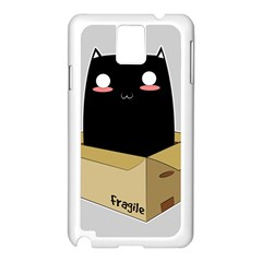 Black Cat In A Box Samsung Galaxy Note 3 N9005 Case (white) by Catifornia