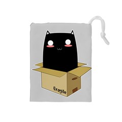 Black Cat In A Box Drawstring Pouches (medium)  by Catifornia