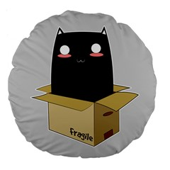 Black Cat In A Box Large 18  Premium Flano Round Cushions by Catifornia