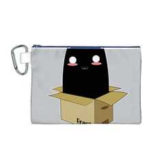 Black Cat In A Box Canvas Cosmetic Bag (m) by Catifornia