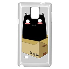 Black Cat In A Box Samsung Galaxy Note 4 Case (white) by Catifornia