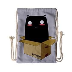 Black Cat In A Box Drawstring Bag (small) by Catifornia