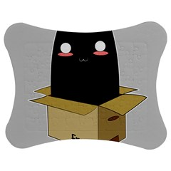 Black Cat In A Box Jigsaw Puzzle Photo Stand (bow) by Catifornia