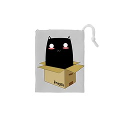 Black Cat In A Box Drawstring Pouches (xs)  by Catifornia