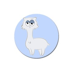 Grumpy Persian Cat Llama Magnet 3  (round) by Catifornia