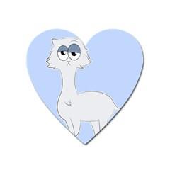 Grumpy Persian Cat Llama Heart Magnet by Catifornia