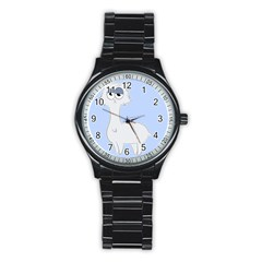 Grumpy Persian Cat Llama Stainless Steel Round Watch by Catifornia