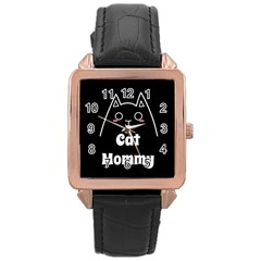 Love My Cat Mommy Rose Gold Leather Watch  by Catifornia