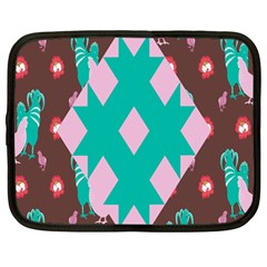 Animals Rooster Hens Chicks Chickens Plaid Star Flower Floral Sunflower Netbook Case (large) by Mariart