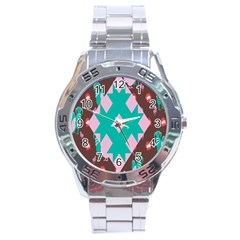 Animals Rooster Hens Chicks Chickens Plaid Star Flower Floral Sunflower Stainless Steel Analogue Watch by Mariart