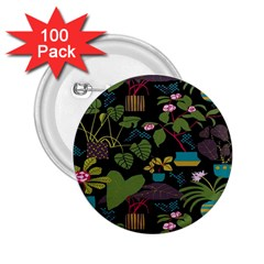 Wreaths Flower Floral Leaf Rose Sunflower Green Yellow Black 2 25  Buttons (100 Pack)  by Mariart