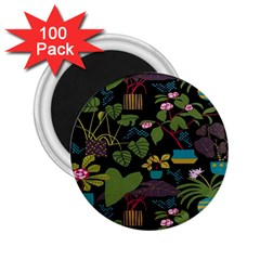 Wreaths Flower Floral Leaf Rose Sunflower Green Yellow Black 2 25  Magnets (100 Pack)  by Mariart