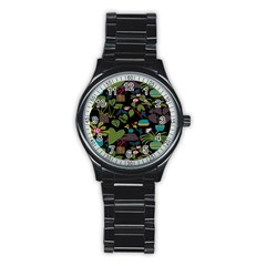 Wreaths Flower Floral Leaf Rose Sunflower Green Yellow Black Stainless Steel Round Watch by Mariart