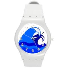 Blue Beach Sea Wave Waves Chevron Water Round Plastic Sport Watch (m) by Mariart