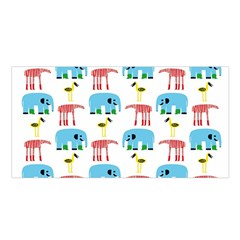 Animals Elephants Giraffes Bird Cranes Swan Satin Shawl by Mariart