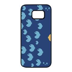 Blue Fish Sea Beach Swim Yellow Predator Water Samsung Galaxy S7 Edge Black Seamless Case by Mariart