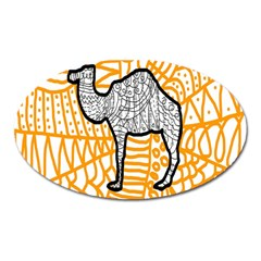 Animals Camel Animals Deserts Yellow Oval Magnet by Mariart
