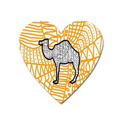 Animals Camel Animals Deserts Yellow Heart Magnet by Mariart