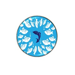 Blue Fish Tuna Sea Beach Swim White Predator Water Hat Clip Ball Marker by Mariart