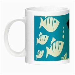 Blue Fish Tuna Sea Beach Swim White Predator Water Night Luminous Mugs by Mariart