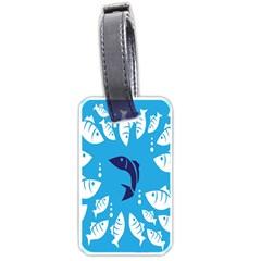 Blue Fish Tuna Sea Beach Swim White Predator Water Luggage Tags (two Sides) by Mariart