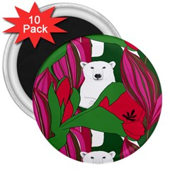 Animals White Bear Flower Floral Red Green 3  Magnets (10 Pack)  by Mariart