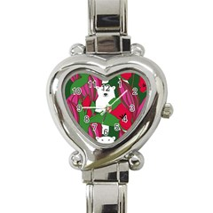 Animals White Bear Flower Floral Red Green Heart Italian Charm Watch by Mariart