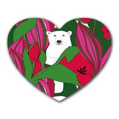 Animals White Bear Flower Floral Red Green Heart Mousepads by Mariart