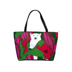 Animals White Bear Flower Floral Red Green Shoulder Handbags by Mariart