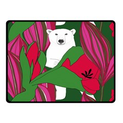 Animals White Bear Flower Floral Red Green Fleece Blanket (small) by Mariart