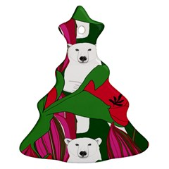 Animals White Bear Flower Floral Red Green Christmas Tree Ornament (two Sides) by Mariart