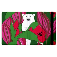 Animals White Bear Flower Floral Red Green Apple Ipad 3/4 Flip Case by Mariart