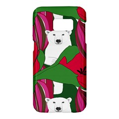 Animals White Bear Flower Floral Red Green Samsung Galaxy S7 Hardshell Case  by Mariart